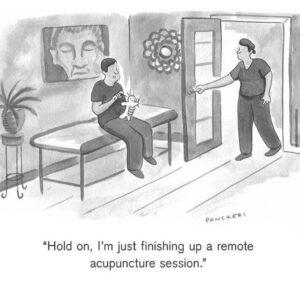 telehealth acupuncture cartoon